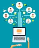 Bedrijfse-mail marketing inhoudsverbinding op mensenachtergrond vector illustratie