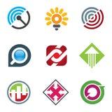 Bedrijfsembleem voor creatieve en vrije geanimeerde vernieuwers in sociaal netwerk stock illustratie