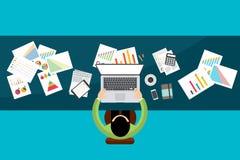 Bedrijfsfinanciëninvestering met grafieken en grafieken Vector Stock Afbeelding
