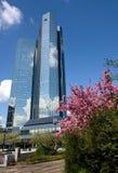 Bedrijfsgebouwen in het financiële district van Frankfurt Stock Afbeelding