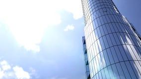 Bedrijfsgebouwenwolkenkrabbers met blauwe hemel Wolkenkrabbers en moderne architectuur het 3d teruggeven Stock Afbeeldingen