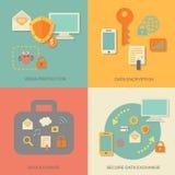 Bedrijfsgegevensbeschermingtechnologie en wolk Stock Afbeelding