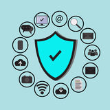 Bedrijfsgegevensbeschermingtechnologie en wolkennetwerkbeveiliging, geplaatste pictogrammen, blauwe achtergrond Royalty-vrije Stock Foto