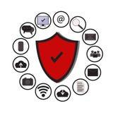 Bedrijfsgegevensbeschermingtechnologie en wolkennetwerkbeveiliging, pictogrammen geplaatst vector, blauwe, witte achtergrond Stock Afbeelding