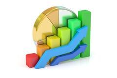 Bedrijfsgrafiek, cirkeldiagram, diagram, bar het 3d teruggeven Royalty-vrije Stock Foto