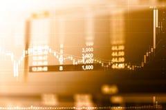 Bedrijfsgrafiek en handelsmonitor van Investering in gouden handel stock fotografie