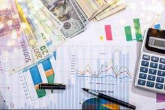 bedrijfsgrafiek, euro, dollar en calculator op bureau stock foto
