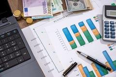 bedrijfsgrafiek, euro, dollar en calculator op bureau royalty-vrije stock afbeelding