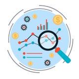 Bedrijfsgrafiek, financieel statistieken vectorconcept Stock Fotografie