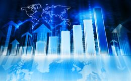 Bedrijfsgrafieken en diagrammen die de groei tonen Royalty-vrije Stock Afbeelding