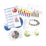 Bedrijfsgrafieken en grafieken Stock Fotografie