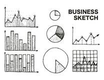 Bedrijfsgrafieken geplaatst schets vectorillustratie Royalty-vrije Stock Afbeelding