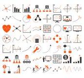 Bedrijfsgrafieken met Driehoek Dots Vector Icons Stock Afbeelding