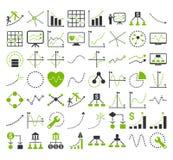 Bedrijfsgrafieken met Rechthoek Dots Glyph Icons Stock Afbeelding