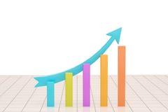 Bedrijfsgrafiekgrafiek met blauwe het toenemen pijl over wit Stock Afbeelding