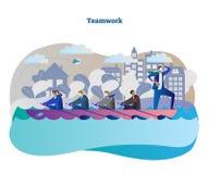 Bedrijfsgroepswerk conceptuele vectorillustratie met het roeien teameenheid en leider die zich aan succes bewegen Royalty-vrije Stock Afbeelding
