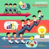 Bedrijfsgroepswerkconcept in vlak ontwerp Stock Afbeelding