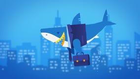 Bedrijfshaai en grote onderwaterstad Lijnanimatie royalty-vrije illustratie