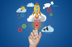 Bedrijfshand en Start bedrijfsconcept Stock Foto