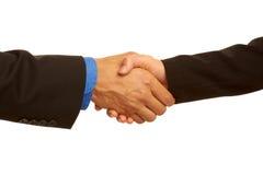 Bedrijfshanddruk die de overeenkomst verzegelen Stock Foto
