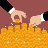 Bedrijfshanden gezet muntstuk Stock Foto's