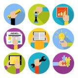 Bedrijfshandenpictogrammen Stock Fotografie