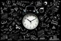 Bedrijfsideeën Tijd het lanceren met wekker royalty-vrije stock afbeelding