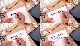 Bedrijfsideeën, zakenman het schrijven ideeën op papier Stock Foto's