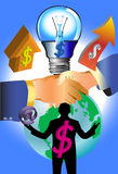 Bedrijfsidee en lamp Royalty-vrije Stock Fotografie
