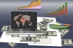Bedrijfsidee: Laptop verbinding met wereldnetwerk het omringen Stock Foto