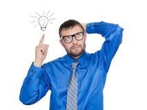 Bedrijfsideeconcept, die een goed idee hebben Geïsoleerdj op witte achtergrond stock afbeelding