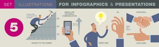 Bedrijfsinfographics met illustraties van bedrijfssituaties, investeringsprojecten royalty-vrije illustratie
