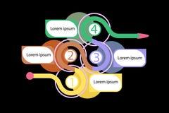 Bedrijfsinfographics met vier aantallen en pijlen vector illustratie