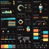 Bedrijfsinfographics vectorelementen in blauw, rood en geel Stock Afbeelding