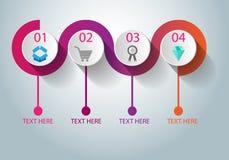 Bedrijfsinfographicschronologie en verwerking en marketing stock illustratie