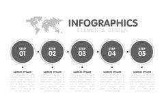 Bedrijfsinfographicsmalplaatje Chronologie met 5 stappen van de cirkelpijl, vijf aantallenopties Wereldkaart op achtergrond Vecto Royalty-vrije Stock Foto's