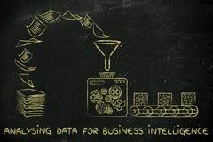 Bedrijfsintelligentie en het analyseren van gegevens: fabrieksmachines trans Stock Foto