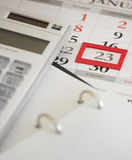 Bedrijfskalender Calculator Royalty-vrije Stock Afbeeldingen
