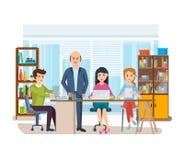 Bedrijfskarakters die in bureau, bedrijfsmensenondernemer met collega's werken royalty-vrije illustratie
