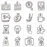 Bedrijfskrabbelpictogrammen Stock Afbeelding