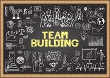 Bedrijfskrabbels op bord met het concept de TEAMbouw vector illustratie
