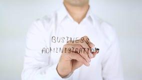 Bedrijfskunde, Mens die op Met de hand geschreven Glas schrijven, Stock Fotografie