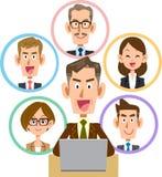 Bedrijfslaptop sociale netwerk oude mens met een glimlach vector illustratie