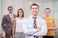 Bedrijfsleider en zijn team Royalty-vrije Stock Afbeelding
