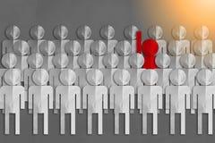 Bedrijfsleidersconcept met rode mensendocument besnoeiing jpg Stock Foto's