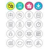 Bedrijfslijnpictogrammen Geld, grafiek en document vector illustratie