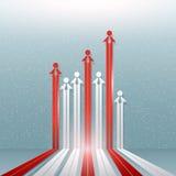 Bedrijfsmalplaatjeachtergrond met mensen en pijlen, vector illustr Royalty-vrije Stock Foto