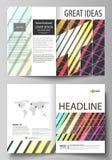 Bedrijfsmalplaatjes voor bi-vouwenbrochure, vlieger, boekje Dekkingsmalplaatje, vectorlay-out in A4 grootte Heldere kleur stock illustratie