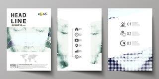 Bedrijfsmalplaatjes voor brochure, tijdschrift, vlieger, boekje Het malplaatje van het dekkingsontwerp, Abstracte lay-out in A4 g royalty-vrije illustratie