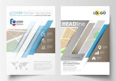 Bedrijfsmalplaatjes voor brochure, tijdschrift, vlieger, boekje of jaarverslag Gemakkelijke editable lay-out in A4 grootte De kaa royalty-vrije illustratie